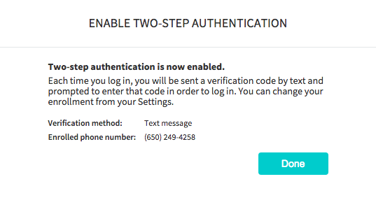 How do I enable two-step authentication for my account